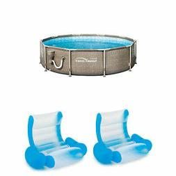 Summer Waves 10 x 2.5 Foot Frame Pool + Inflatable Rocking C