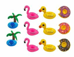 11 Pack Inflatable Cup Holder Pool Toy New Ducks,Donuts,Pink