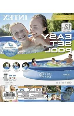 INTEX 12FT X 30IN EASY SET UP INFLATABLE SWIMMING POOL WIT