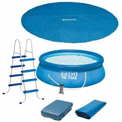 "Intex 15' x 48"" Easy Set Above Ground Inflatable Pool with P"