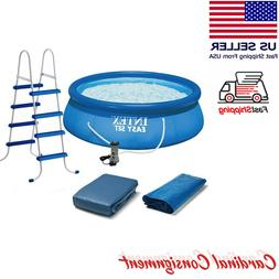 "Intex 15' x 48""✅ Inflatable Easy Set Swimming Pool w/ Ladd"