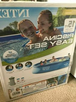 Intex 15ft x 33in Easy Set Inflatable Kid Swimming Pool with