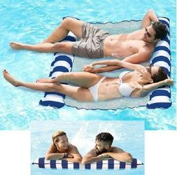 2 Person Inflatable Hammock Pool Float Navy Water Lounge Rel