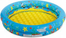 2 ring inflatable baby swimming pool blue
