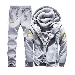 2018 Mens Hoodie Winter Warm Fleece Zipper Sweater Jacket Ou