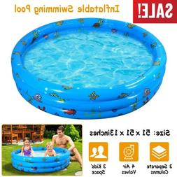 "51"" 3 Kids Inflatable Pool Kiddie Swimming Pool Blow Up Chil"