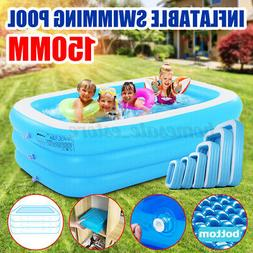 59 Inch Round Inflatable Swimming Pool Backyard Water Play F