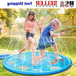 "66.9"" Inflatable Spray Splash Water Mat Kid Outdoor Pool Bea"