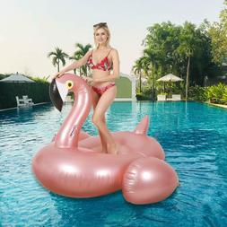 75 Inch Giant Pink Flamingo Float Pool Inflatable Ride-On Ra