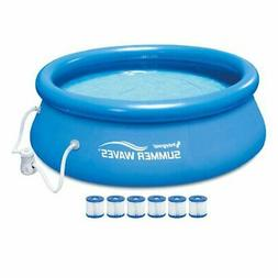 Summer Waves 8' Quick Set Inflatable Above Ground Pool + Pum