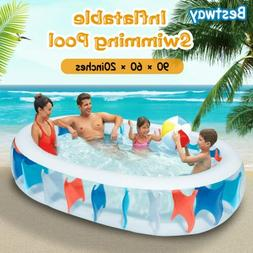 "90""×60""×20"" Inflatable Swimming Pool Blow Up Family Pool F"