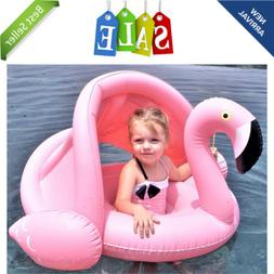 Baby Flamingo Inflatable Pool Float with Adjustable Sun Cano