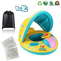 Baby Pool Float Infant Swimming Ring with Canopy Shade - Inf