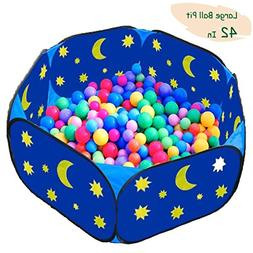 Kids Ball Pit Ball Pool for Baby Hexagon Blue Star and Moon