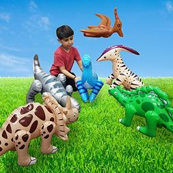 Fun Central BC545 Pack of 6 pcs 24 Inch Inflatable Dinosaurs