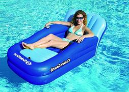 "54"" Blue Cooler Couch Inflatable Swimming Pool Lounger with"
