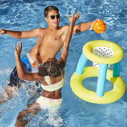 Childrens Inflatable Floating BasketBall Hoop Ring Toss Game