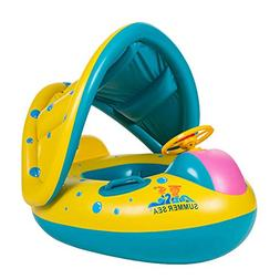 Uleade Cute Baby Float Seat Canopy Yacht Inflatable Pool Kid