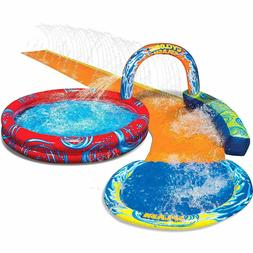 cyclone splash park inflatable with sprinkling slide