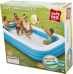 Play Day Deluxe 10 Foot Inflatable Family Swimming Pool Outd