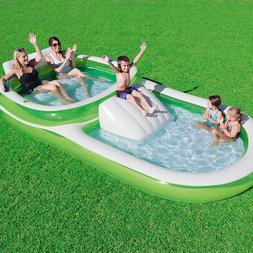 Family Pool with Slide Inflatable Swimming Outdoor Play Back