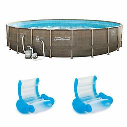 Summer Waves Frame Pool w/Inflatable Rocking Chair Float w/A