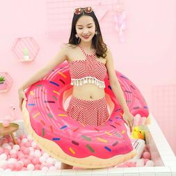 Full Size Inflatable Giant Donut Swimming Ring Float Pool Tu