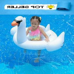 Full Size Inflatable Giant Swan Pool Float Ride Floaties+Air