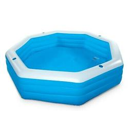 Summer Waves Inflatable 9' Octagon Family Swimming Pool, Blu