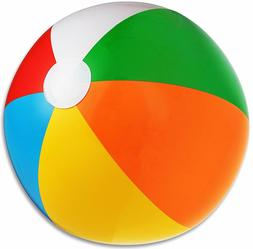 Inflatable Beach Balls 1 Dozen Rainbow Colored For Pool Part