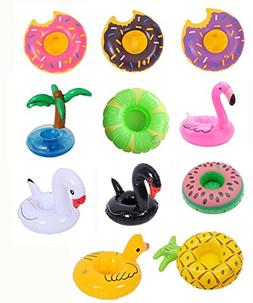 12 Pack Inflatable Drink Holder Unicorn Float,Fruit Donuts F