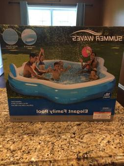 Summer Waves Inflatable Elegant Family Pool with Mosaic Inte