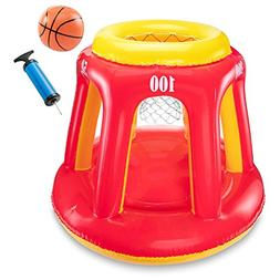 Ivation Inflatable Floating Basketball Hoop & Blow Up Ball f