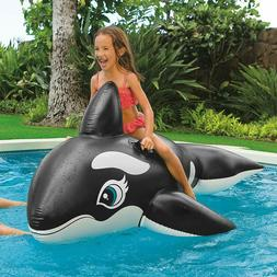 "Giant Whale Inflatable Pool Floats Ride-On 76""x 47"" Water To"