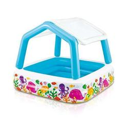 Inflatable Kiddie Pool Intex With Sun Shade Swimming Pools T