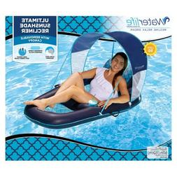Inflatable Pool Lounger Float with Sunshade Canopy, Blue