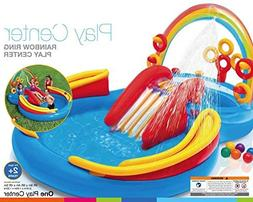 VirtualSurround Inflatable Kids Rainbow Ring Water Play Cent