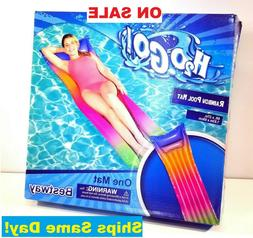 inflatable rainbow swimming floating pool mat bed