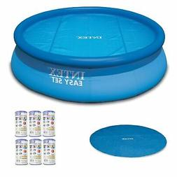 Intex Inflatable Round Pool, 18' Round Solar Pool Cover &