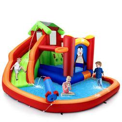 Inflatable Slide Bouncer and Water Park Bounce House w/ Spla
