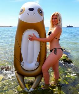 Inflatable sloth pool float toy swimming raft lounger for ad