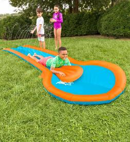 inflatable water slide w two speed boards