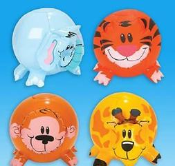 "INFLATABLE ZOO ANIMAL SHAPE BEACH BALLS 12"" Safari Jungle P"
