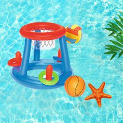 Kids Inflatable Floating BasketBall Hoop Ring Toss Game Swim