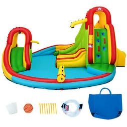 Kids Inflatable Climbing Wall Water Slide Pool Park Bounce H