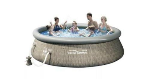 Summer Waves 12ft x 36in Above Inflatable Outdoor Pool Pump