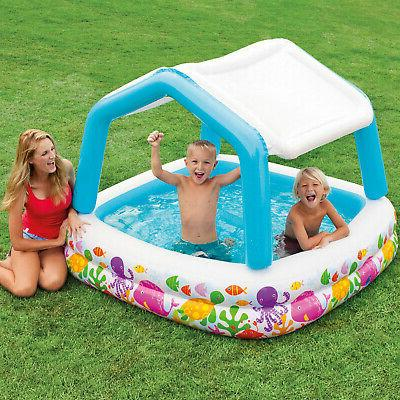 Intex 5ft Inflatable Ocean Shade Swimming Pool With Canopy