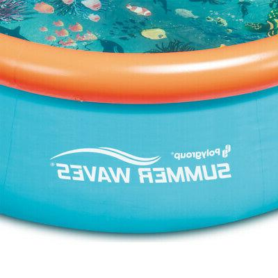 Summer Waves 8' Inflatable Kid Pool and Foot Easy Above Ground Pool Cover