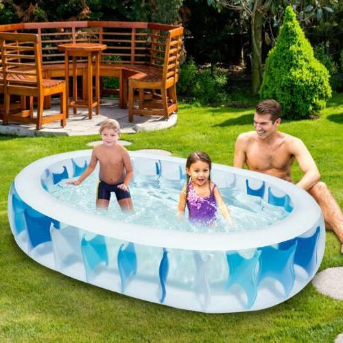 "90""×60""×20"" Inflatable Swimming Pool Water Fun Kids Outdoor Backyard"