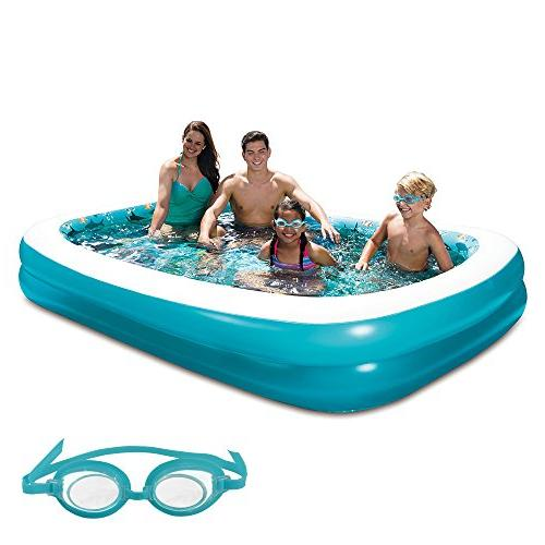 "Blue Wave 3D Inflatable Rectangular Family Pool, 103"" x 69"""